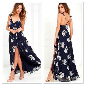 Lulu's all mine navy floral print wrap dress